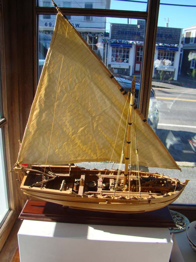 click to view larger image of A highly detailed 1:16 scale model of an early 19th century British gunboat