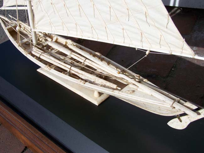 click to view larger image of A Highly detailed Whalebone model made in the Azores of a 19th century Whale Boat