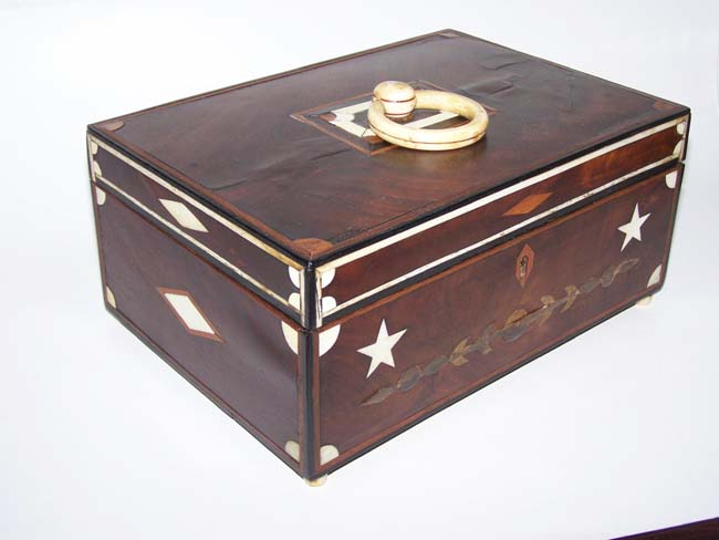 click to view larger image of A 19th century Sailor-made ANTIQUE Box, inlaid with Whalebone, Whale Ivory and Baleen, probably from Nantucket circa 1840.