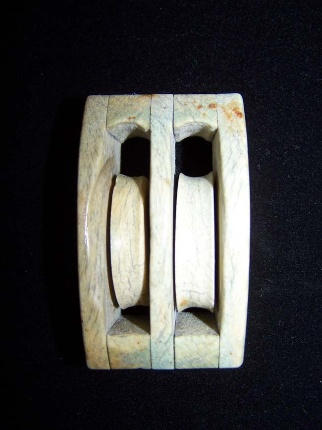 click to view larger image of A 19th century Sailor-made ANTIQUE Whalebone 'Double' Ship's Block