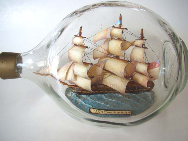 click to view larger image of A model of the USS Constitution in a bottle made circa 1960-1970