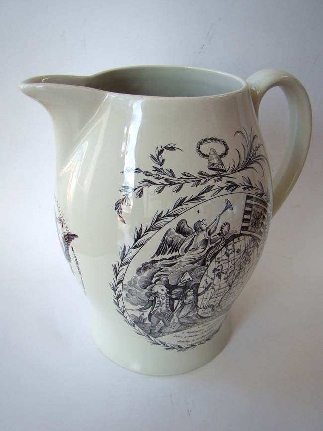 click to view larger image of A black transferware Liverpool pitcher made for the Nantucket Historical Association by Mottahedeh