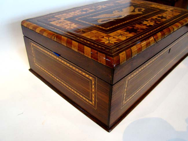 click to view larger image of A stunning and patriotic 19th century sailor-made ladies writing or sewing box circa 1850