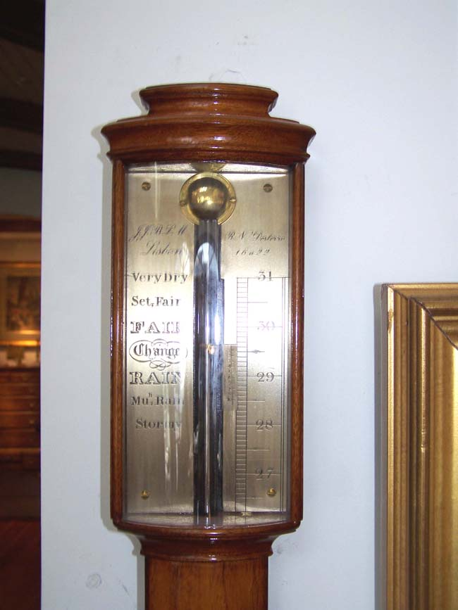 click to view larger image of A Fine Contemporary Mahogany Stick Barometer made in Lisbon, Portugal, circa 1960