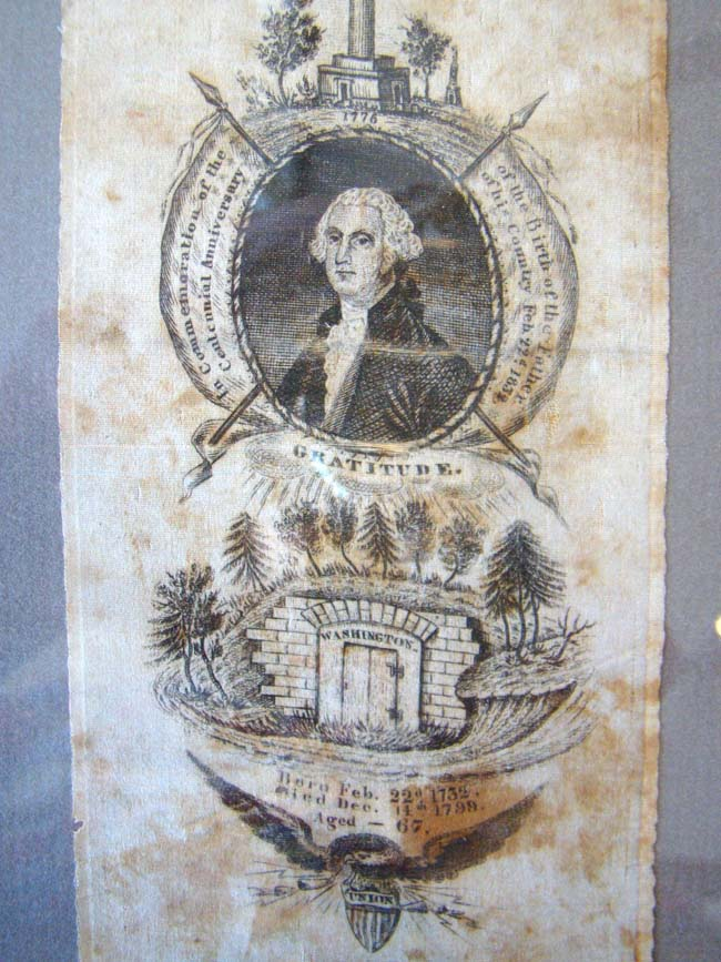click to view larger image of A RARE early 19th century George Washington Memorial silk banner
