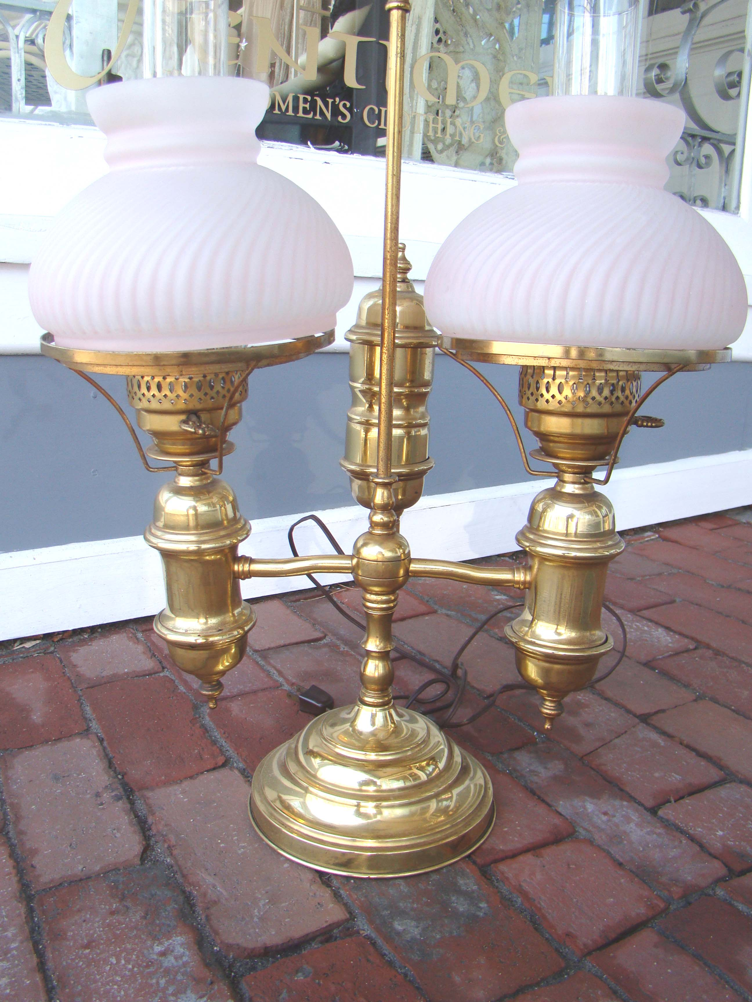 click to view larger image of A vintage brass 'double' student lamp