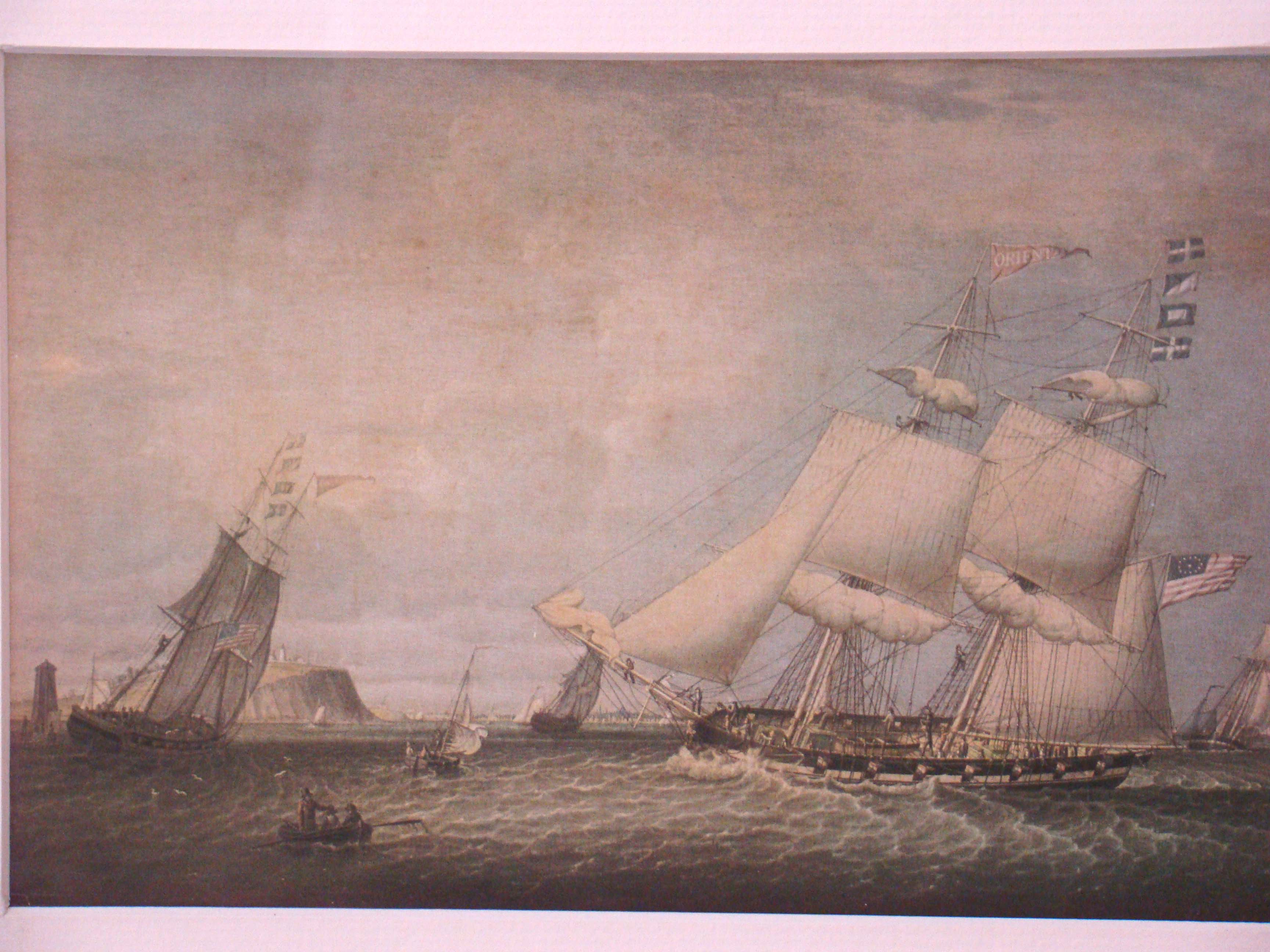 click to view larger image of An attractive vintage print of the Brig