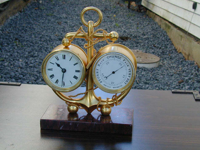 click to view larger image of A Late 19th Century Antique Clock and Barometer on a Marble Base  Circa 1880-1890