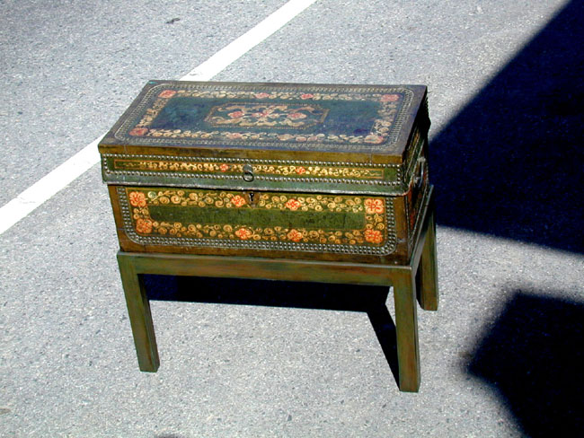 click to view larger image of A 19th Century Painted China Trade Trunk on a Later Matching Stand Circa 1830.