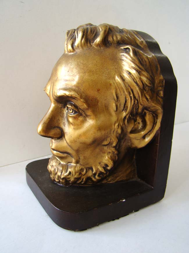 click to view larger image of A single Abraham Lincoln bookend circa 1950