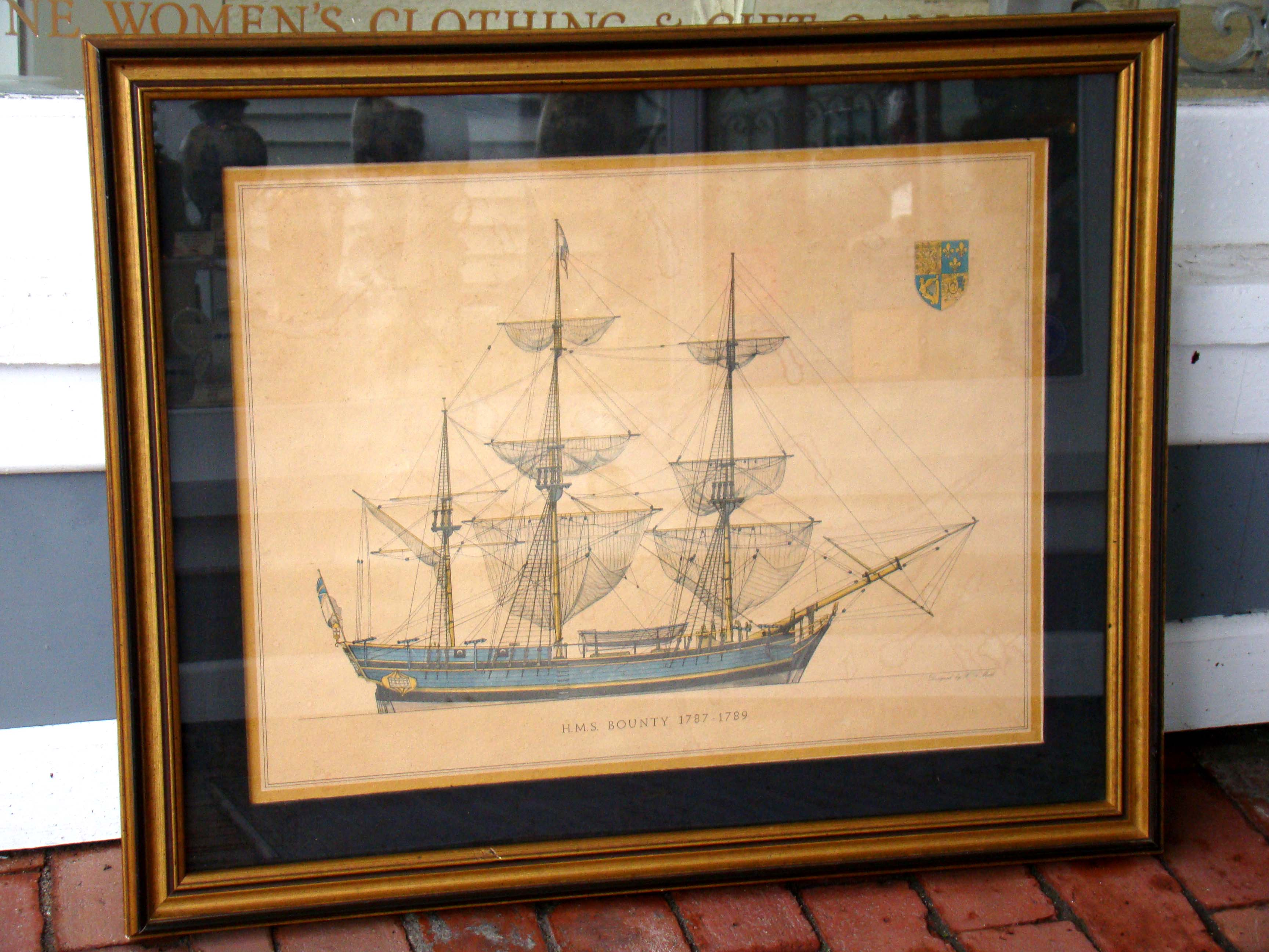 click to view larger image of A framed lithograph of H M S Bounty (1787-1789) by H A Muth (1871-1931)
