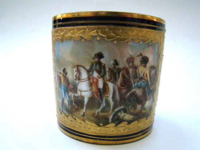 click to view larger image of A fine and rare 19th century Sevres bone china cup featuring Napoleon at the Battle of Friedland in June 1807