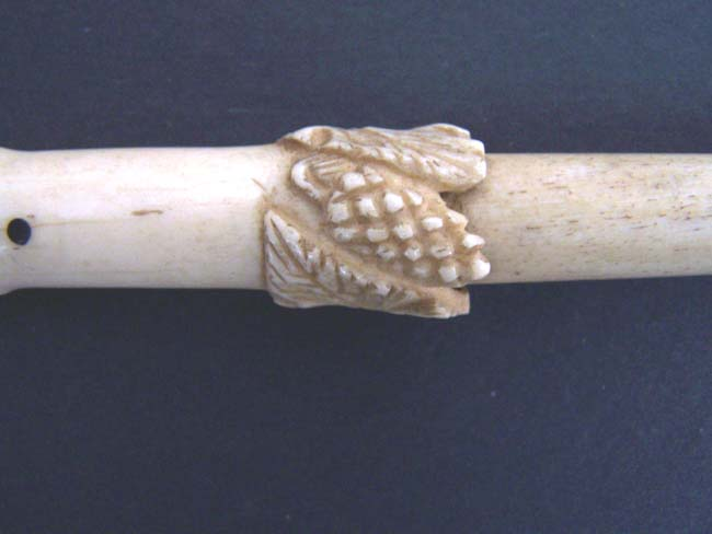 click to view larger image of A 19th century ANTIQUE Whalebone Walking Stick with Carved Grapevine Decoration