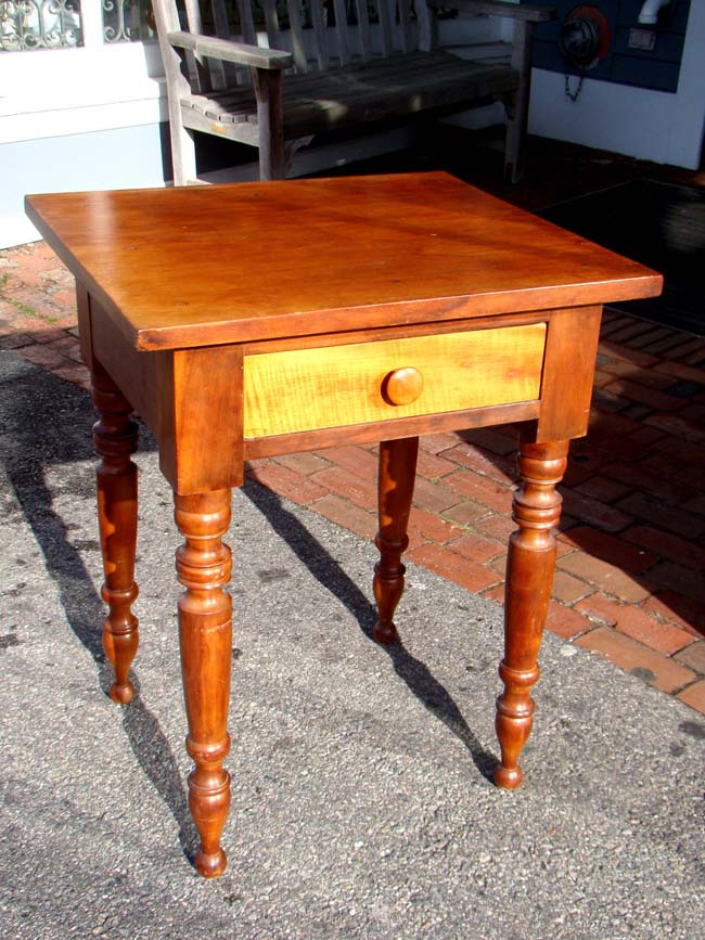 click to view larger image of An American Cherry nightstand with Tiger Maple drawer circa 1850