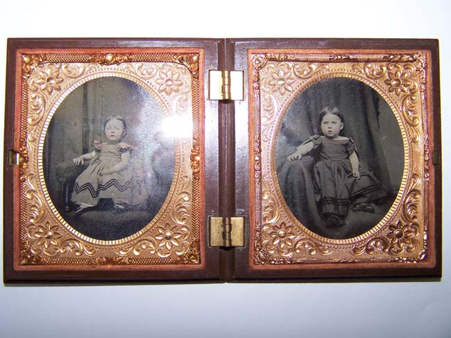 click to view larger image of A Charming Double Ambrotype Photo of two young children in a Gutta Percha case circa 1860