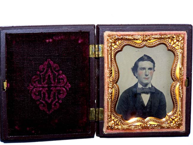 click to view larger image of A Very Nice Ambrotype Photographic Image of a Gentleman in a Fine Gutta Percha Case circa 1860