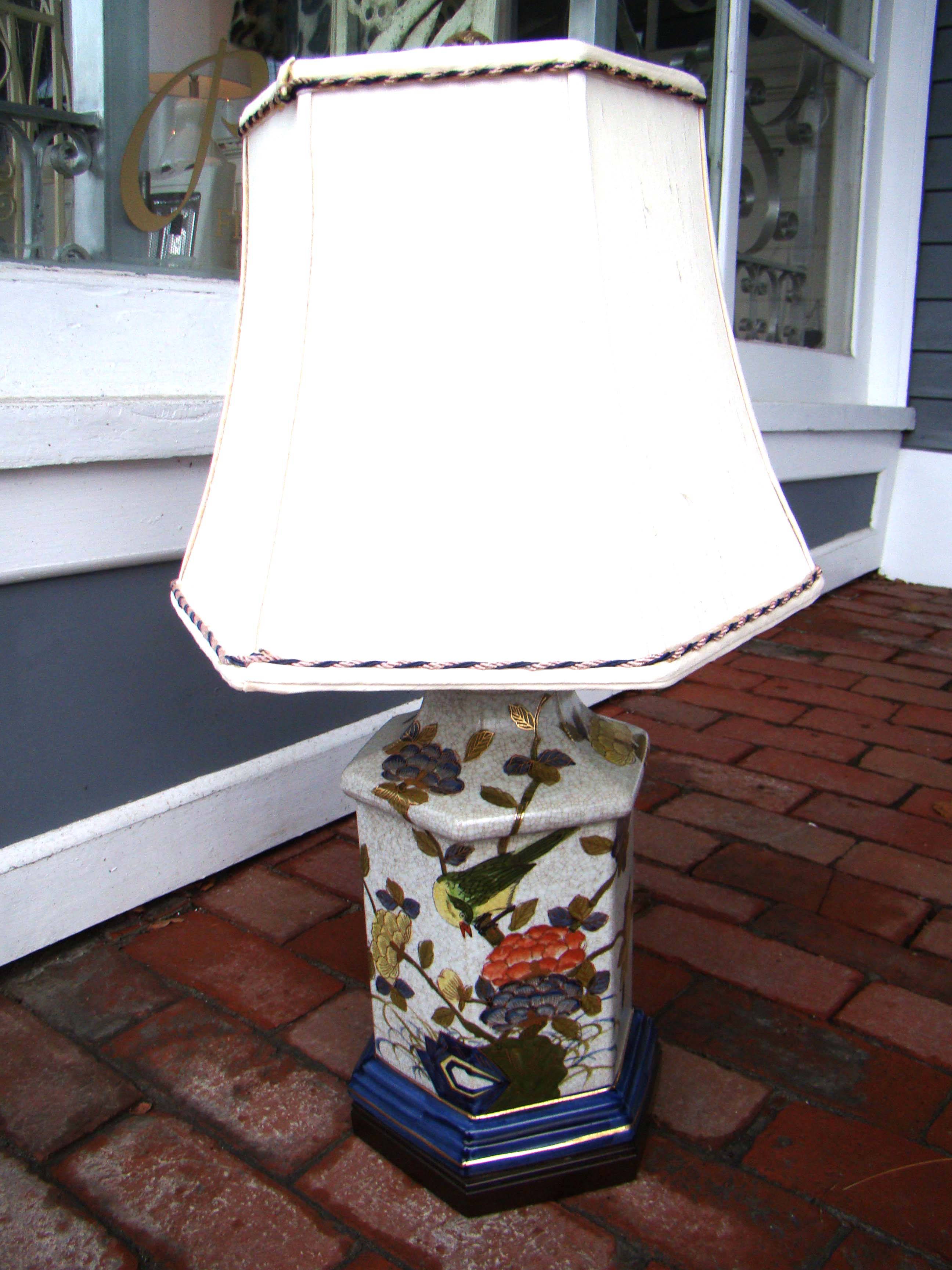 click to view larger image of An attractive vintage Asian style lamp with custom made silk shade