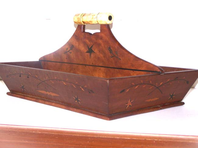 click to view larger image of A 19th century Whale Ivory mounted inlaid Maple Cutlery Tray