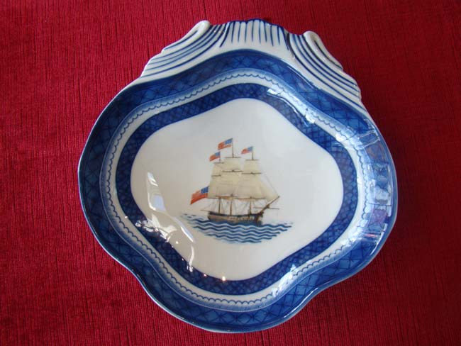 click to view larger image of A beautiful U S Frigate CONSTITUTION Chinese Export 'style' dish by Mottahedeh