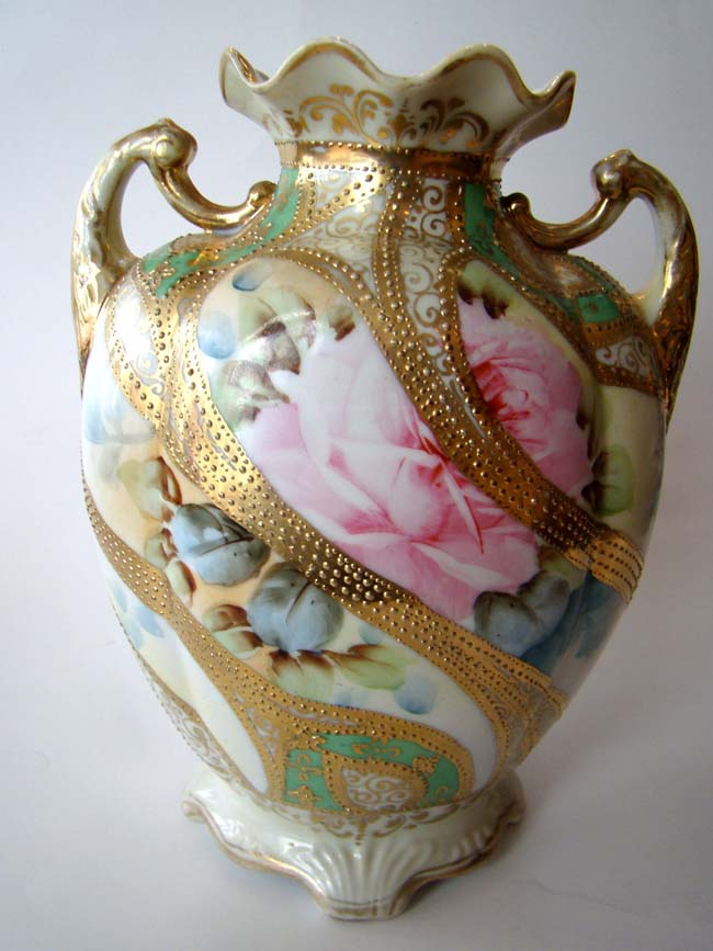 click to view larger image of An extremely attractive two handled vase, possibly by Nippon, circa 1900
