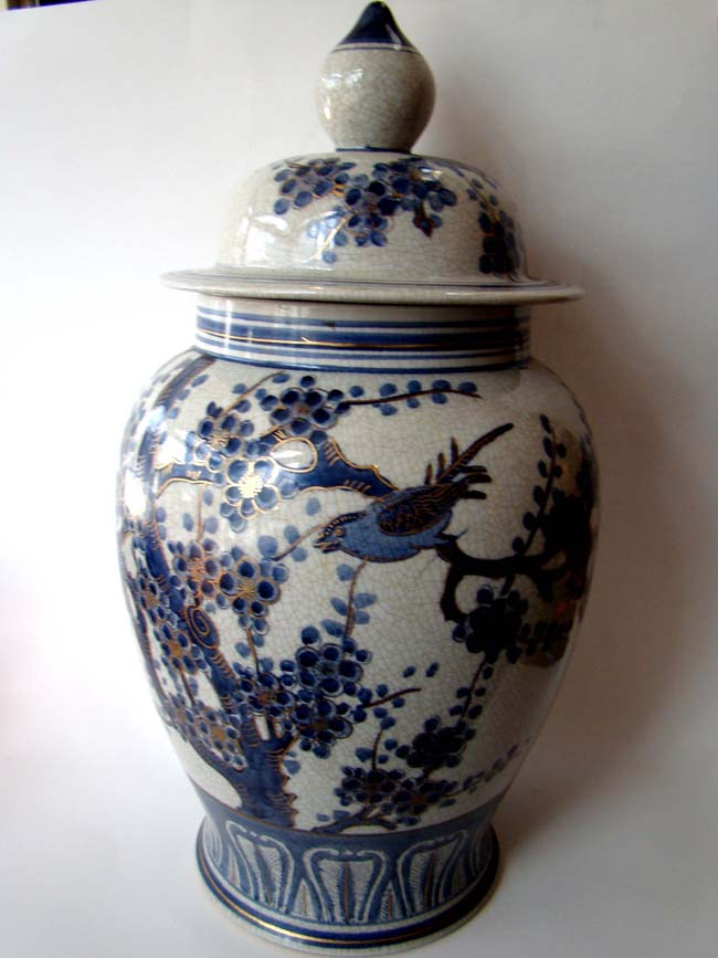 click to view larger image of An attractive and large Chinese covered jar with gold highlights, 20th century.