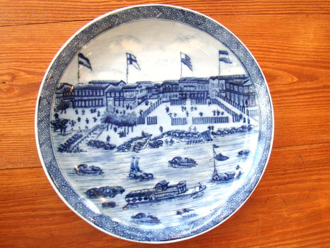 click to view larger image of A fine late 19th or early 20th century Chinese plate depicting the 'Hongs of Canton' circa 1830