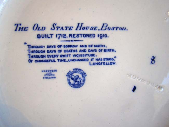 click to view larger image of A fine Wegwood souvenir plate depicting The Old Statehouse, Boston, circa 1910