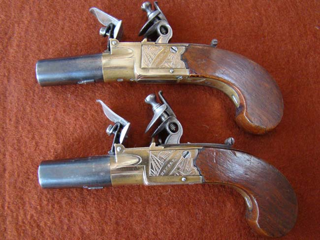 click to view larger image of A nice pair of SCOTTISH flintlock pocket pistols by Henderson of Paisley circa 1790-1800