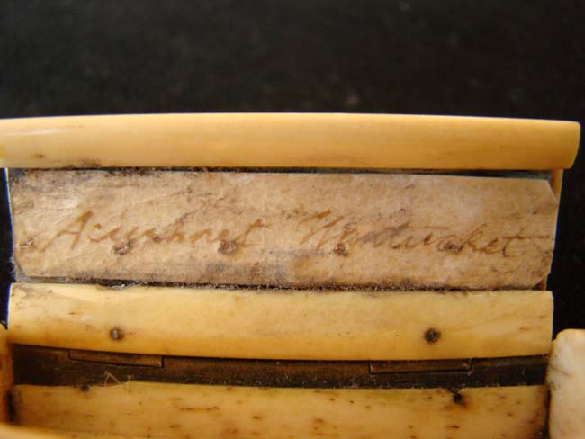 click to view larger image of A 19th century sailor-made bone snuffbox inscribed
