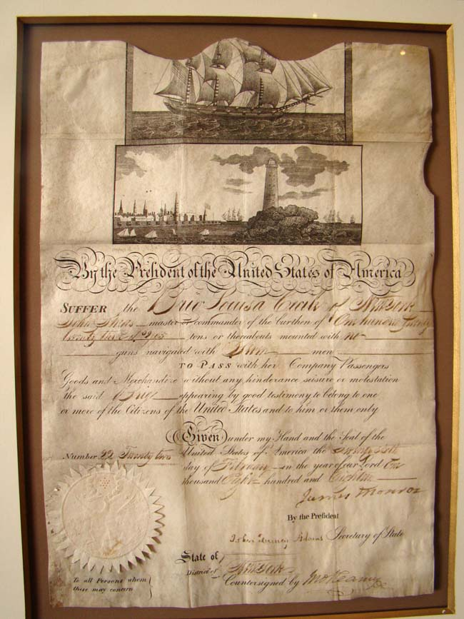 click to view larger image of A superb Meditteranean Ships Passport document signed on February 26, 1818 by President James Monroe and Secretary of State and future President John Quincy Adams.