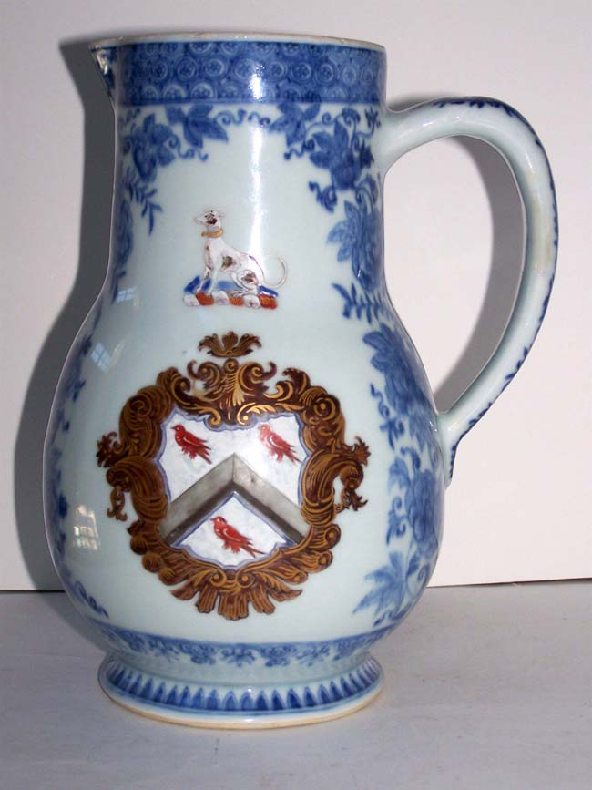 click to view larger image of A Fine and Rare 18th century Chinese Export Armorial Jug circa 1730 with arms of PROCTOR