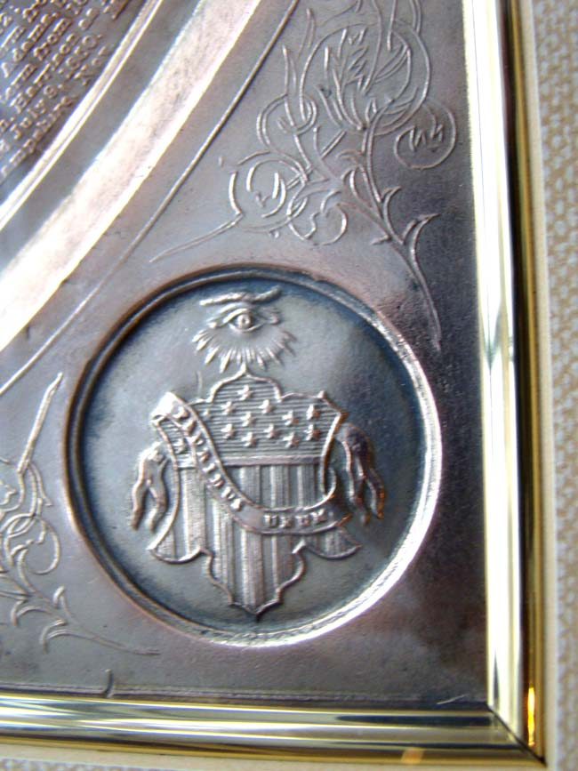 click to view larger image of A rare American Patriotic silver plaque entitled