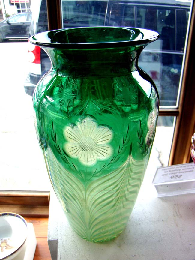 click to view larger image of A gorgeous vintage emerald green cut glass art deco vase