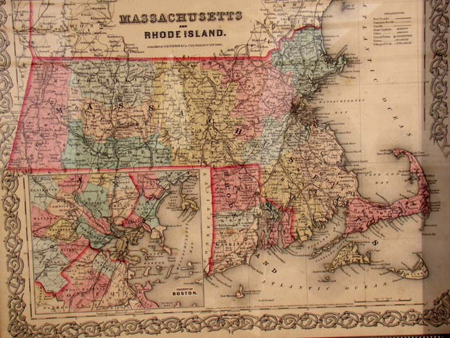 Antique Boston Map.An Original Antique Map Of Massachusetts And Rhode Island With Inset