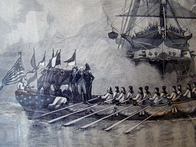 click to view larger image of A depiction of George Washington's  barge on its way to his Inauguration in Manhattan on April 23, 1789