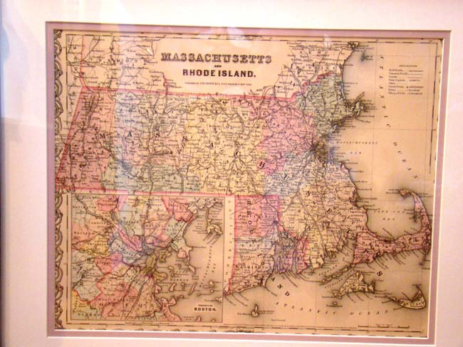 click to view larger image of Colton's Map of Massachuseets and Rhode Island with inset map of Boston published in 1855