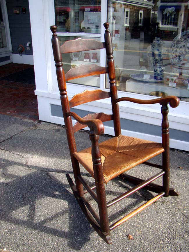 click to view larger image of An 18th century New England Ladder back armchair circa 1760 converted to a rocker circa 1800