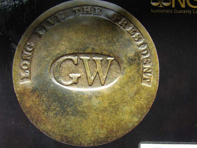 click to view larger image of An extremely RARE George Washington Inaugural Button from 1789 inscribed