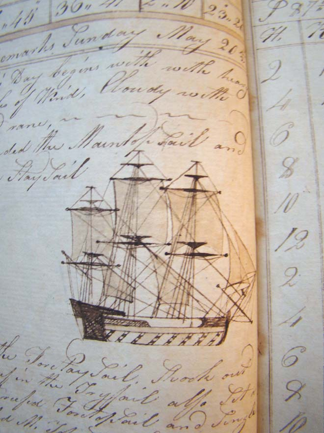 click to view larger image of Seth Barlow's Journal made 'for his own amusement' aboard the 'Good Brig Nancy' covering a cruise from New York to Norway and on to Ireland March 26, 1810 to May 20, 1811.