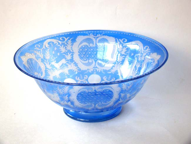 click to view larger image of A beautiful vintage Bohemian hart and doe pattern glass bowl