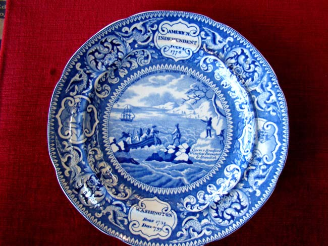 click to view larger image of A fine Commemorative plate depicting the Landing of the Pilgrims, American Independence and George Washington