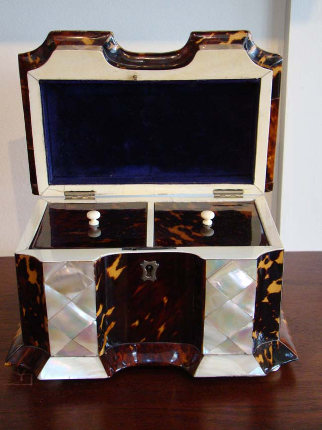 click to view larger image of A Magnificent English Regency period Tortoiseshell, Mother-of-pearl and Ivory Tea Caddy Box circa 1815