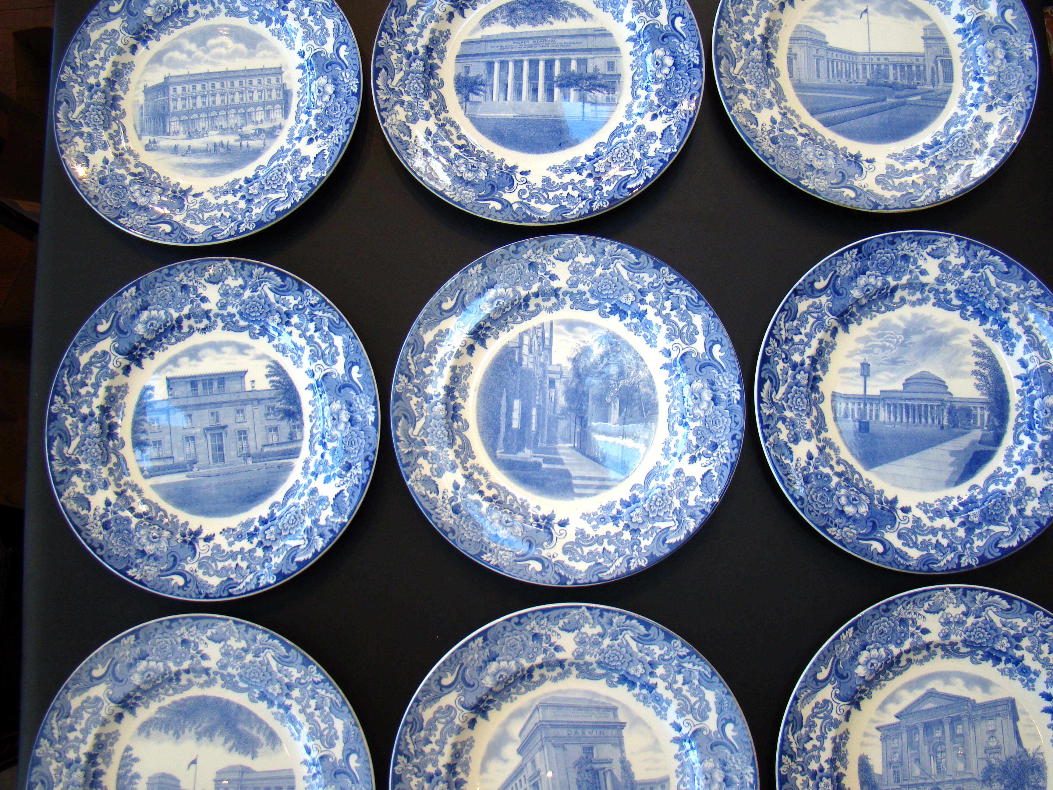 click to view larger image of A rare set of nine M I T commemorative plates made by Wedgwood in 1930