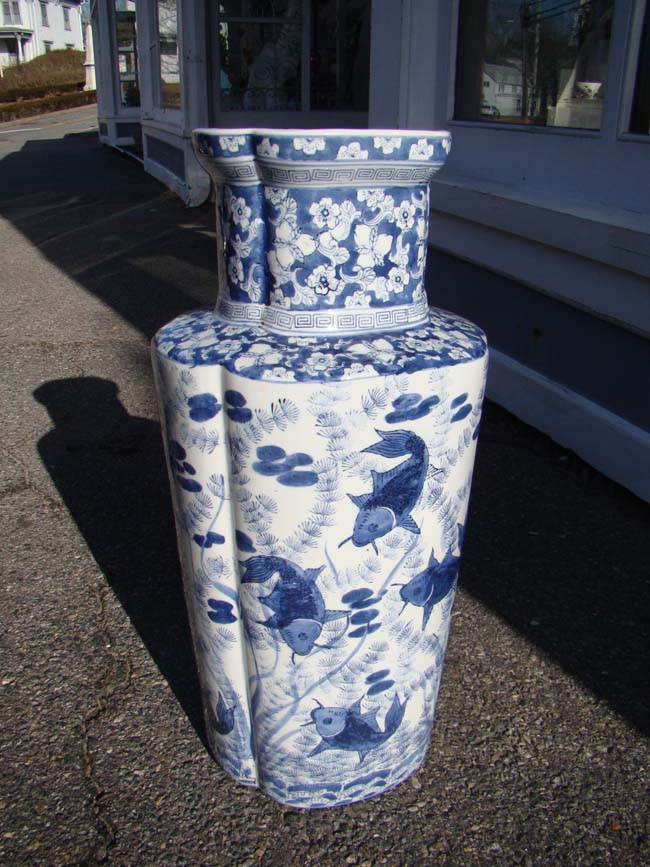 click to view larger image of A wonderful large contemporary Chinese vase with fish decoration
