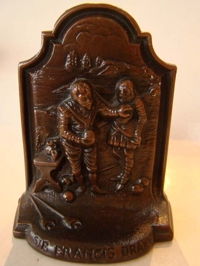 click to view larger image of A rare pair of Sir Francis Drake and the Spanish Armada bronze bookends by Jennings Brothers circa 1910