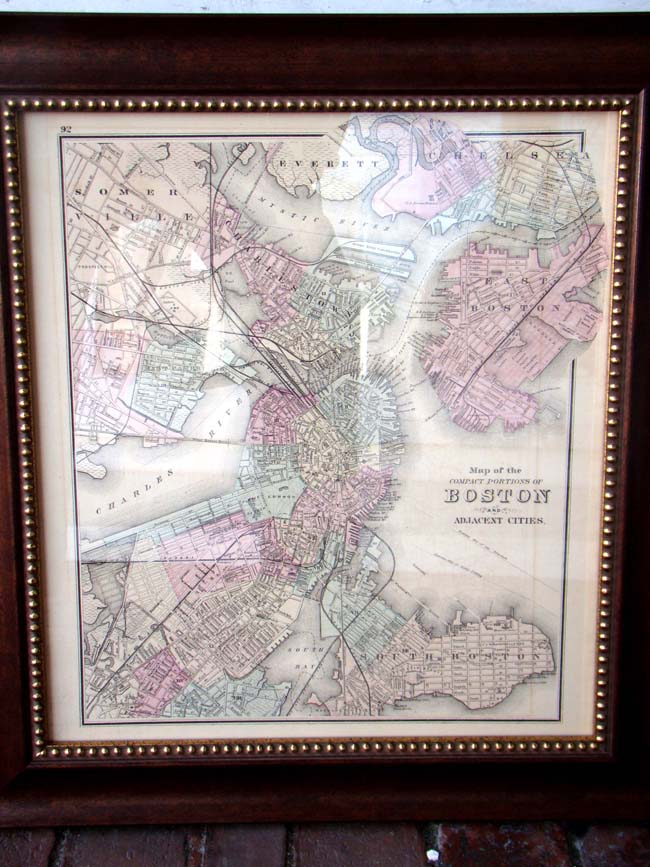 Grays Map Of Boston Published In With The Reverse Side Showing - Custom framed maps