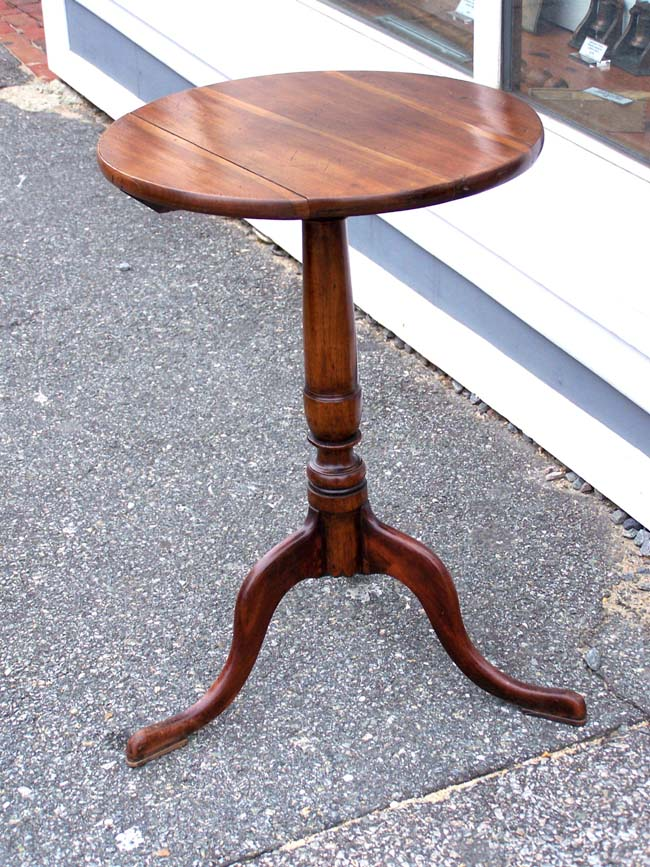click to view larger image of A George III period diminutive Plum Wood Tripod Table on Cabriole Legs with Pad Feet circa 1770