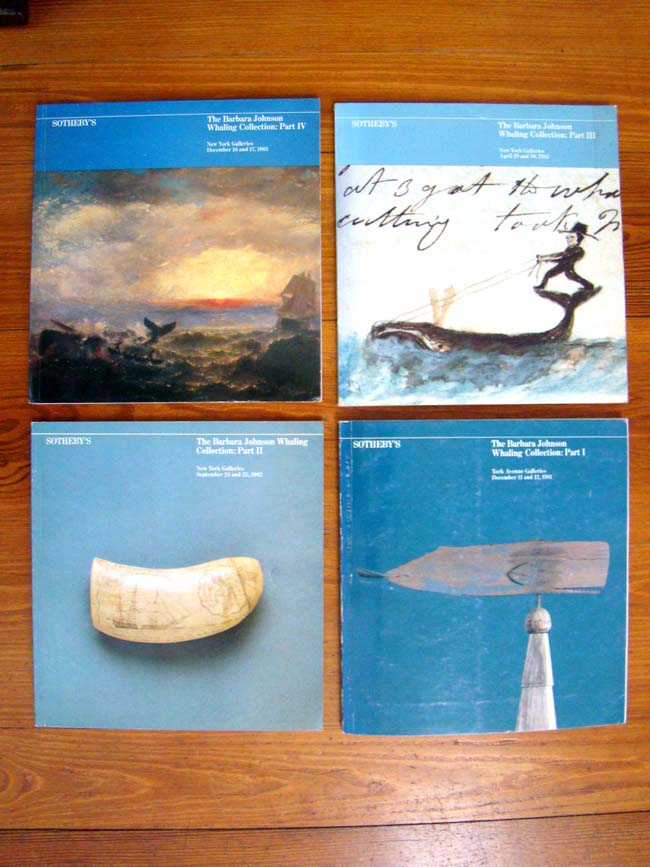 click to view larger image of A complete and original set of four auction catalogs from the Barbara Johnson Whaling Collection