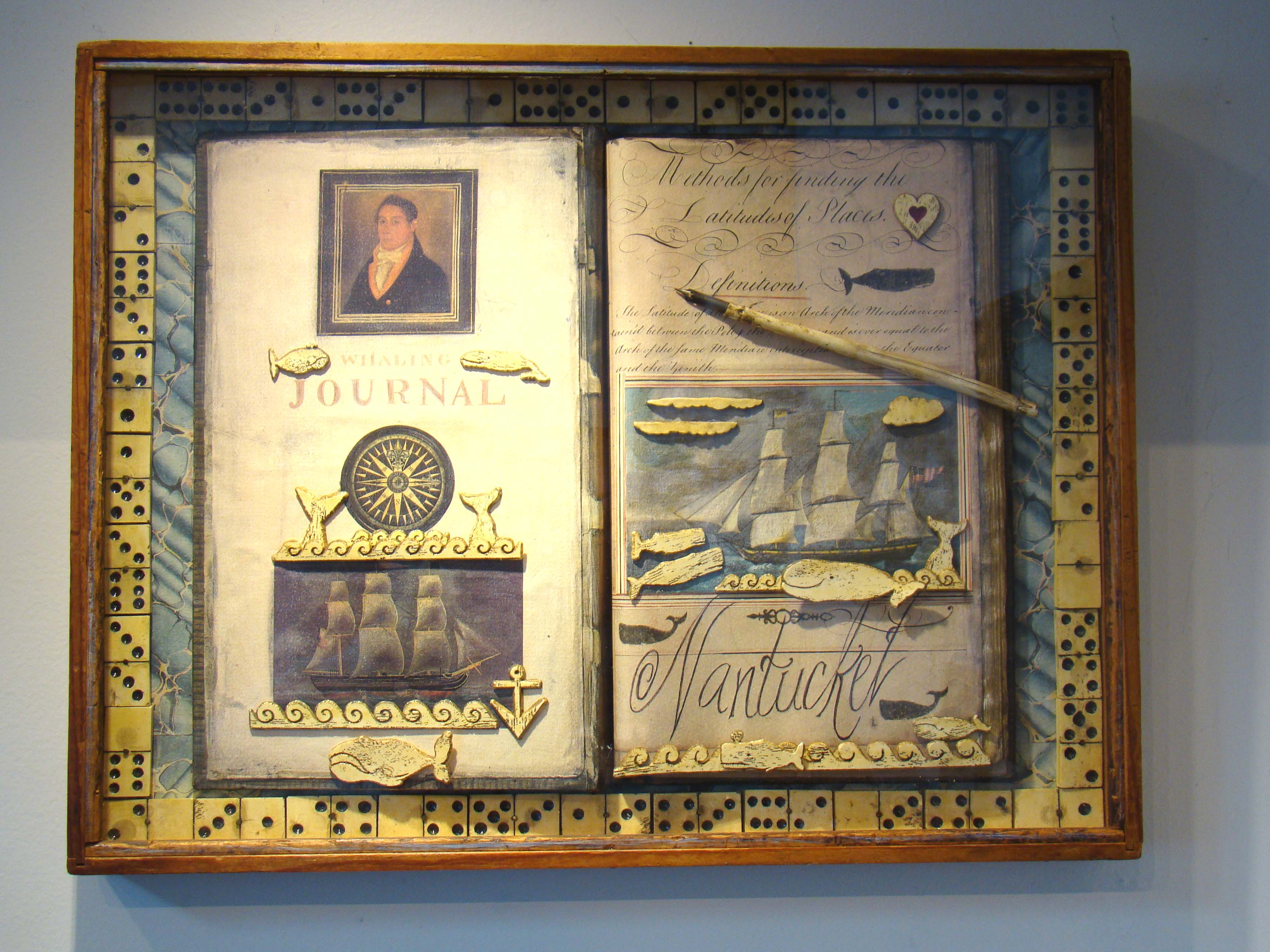 click to view larger image of A fabulous 20th century Nantucket whaling memorablia shadow box by Erik Erikson