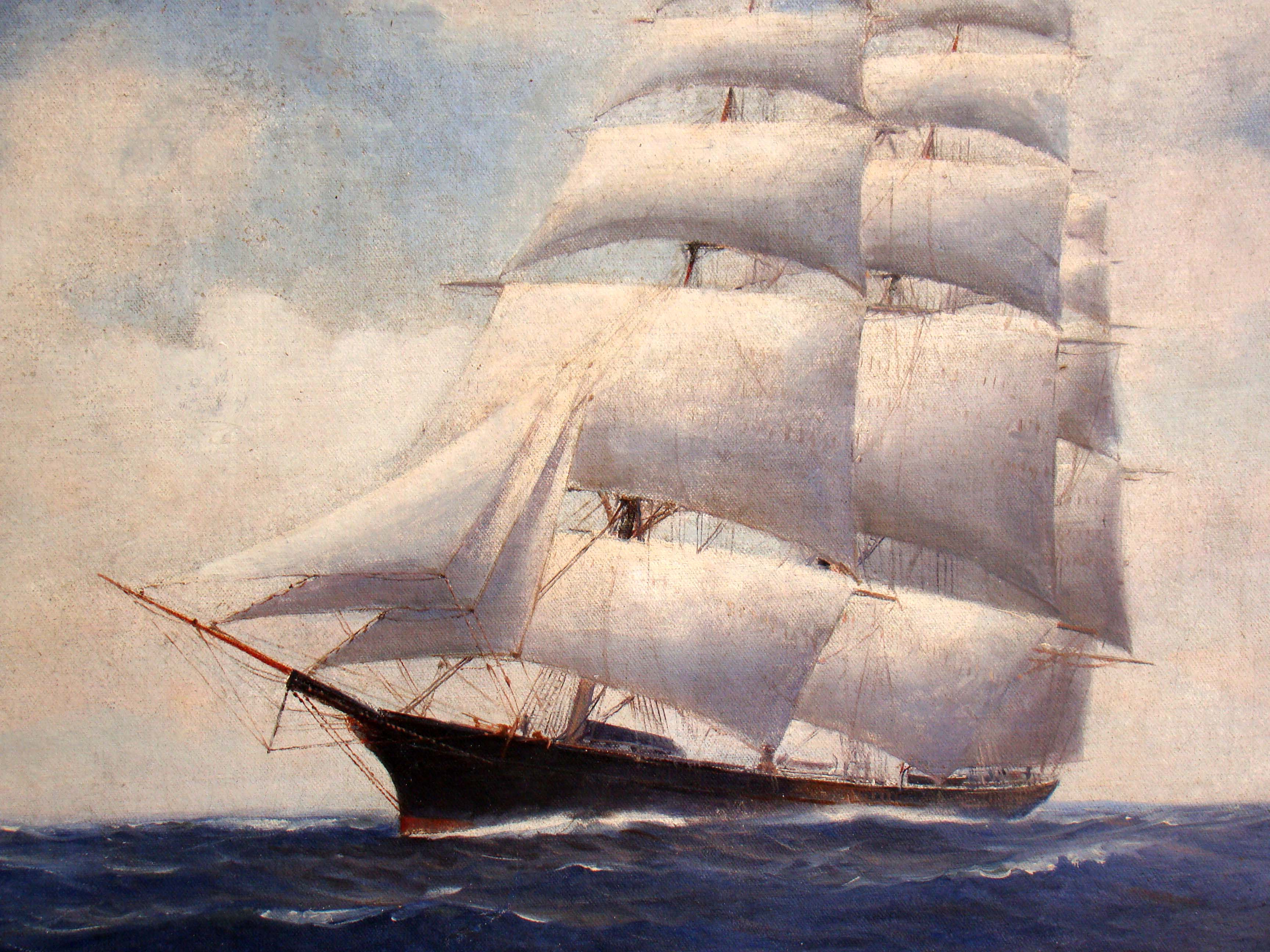 click to view larger image of A vintage oil painting of the famous clipper ship Westward Ho by Vivian Porter circa 1920